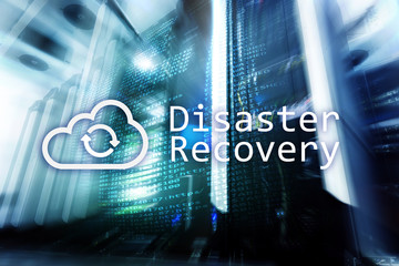 DIsaster recovery. Data loss prevention. Server room on background. Fotomurales