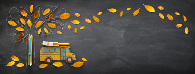 Back to school concept. Top view banner of school bus and pencils next to tree sketch with autumn dry leaves over classroom blackboard background. Wall mural