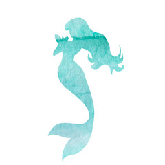 isolated, white background, watercolor silhouette mermaid