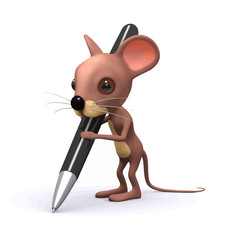 Vector 3d Funny cartoon mouse writes with pen
