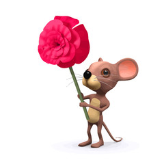 Vector 3d Funny cartoon romantic mouse