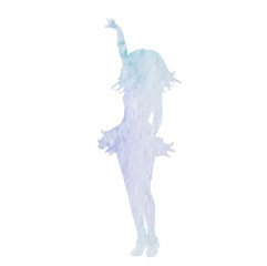 vector, isolated, white background, watercolor silhouette girl dancing