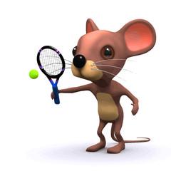 Vector 3d Funny cartoon tennis mouse