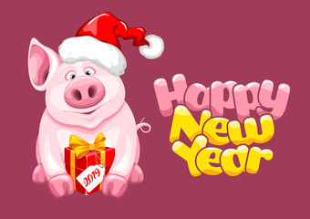 Greeting New Year Design With Cartoon Piggy