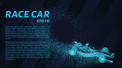 Racing car of the particles. Car racing consists of dots and circles. Vector illustration.