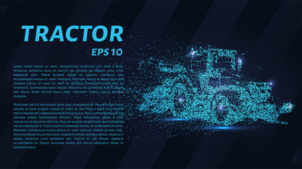 The tractor consists of dots and circles. Tractor wind blows the particles. Vector illustration