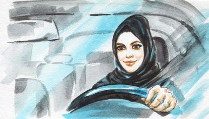 Hand drawn arabian woman drive a car. Watercolor portrait of modern and free muslim lady. Sketching feminist illustration