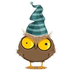 Смешная сова в шапке