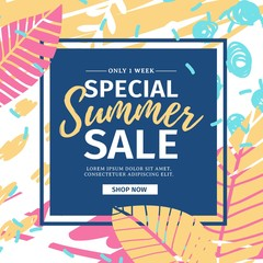 Template design web  summer banner offer with colorful texture. Summer flyer for season offer  and sale on abstract brush background with flower decoration and graphic leaf element. Vector.
