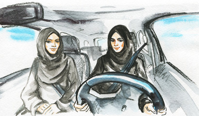 Hand drawn arabian woman drive a car. Watercolor portrait of modern and free muslim ladies. Sketching feminist illustration
