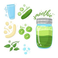 Green cocktail for healthy life. Smoothies with kiwi,mint melissa herb, banana and cucumber. Recipe vegetarian organic smoothie in jar. Template recipe card with detox drink for diet. Vector