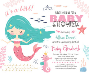 Baby shower invitation card with cute little mermaid and marine life