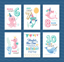 Birthday card template with cute little marine life cartoon character and birthday anniversary numbers