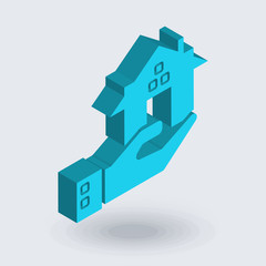 Real estate icon vector isolated on white background for your web and mobile app design, Real estate logo concept , isometric 3D icon