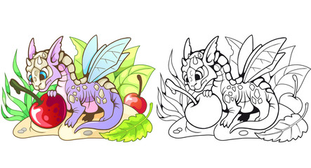 cartoon little cute dragon eating cherry, funny illustration