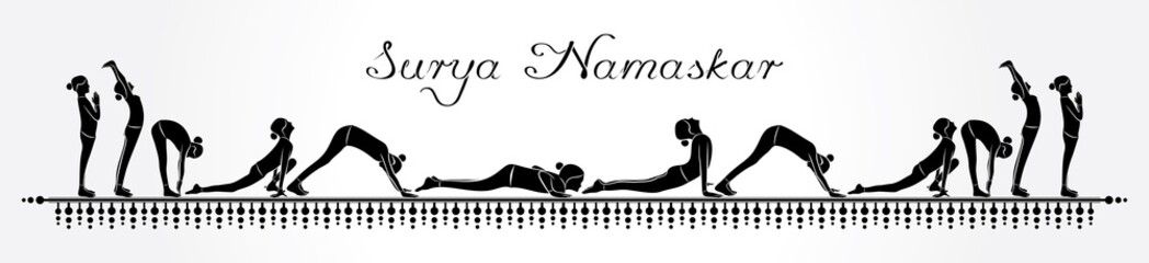illustration of woman doing SURYA NAMASKAR