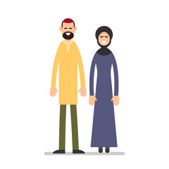 Arab couple. Arabic man and woman in traditional clothes standing together. Cartoon illustration isolated on white background in flat style