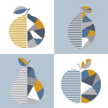 Set of modern geometric fruit illustration. Vector design. Good for printing.