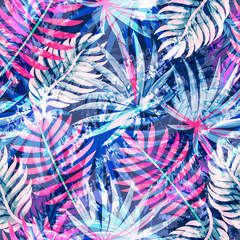 Seamless exotic pattern with abstract tropical plants. Vector modern design for paper, wallpaper, fabric, cover.