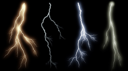 Set of lightings. Illustration of realistic lighting thunderbolt on black background. Summer thunder storm