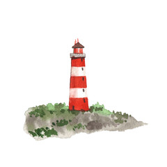 Watercolor lighthouse. Isolated object on white background.