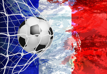 Soccer Goal. French flag with a soccer ball in a net. Vector illustration