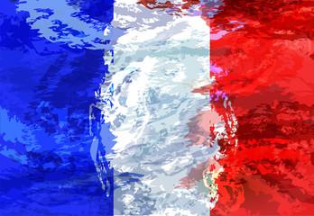 Grunge illustration of French flag. background