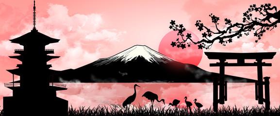 Fotobehang Lichtroze Mount Fuji on evening sunset. Silhouette Fuji mountain at sunset