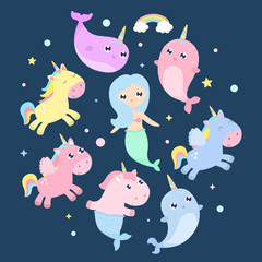 Magical creatures. Narwhal, unicorn mermaid, pegasus vector illustration