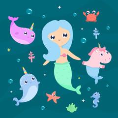 Magical creatures. Narwhal, unicorn mermaid,sea animals vector illustration
