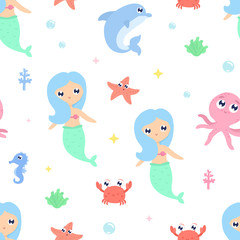 Mermaid seamless background