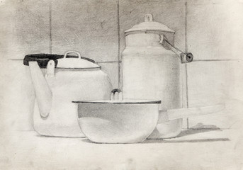 still life, pencil drawing, sketch
