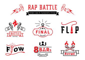 rap battle badge logo and typography design