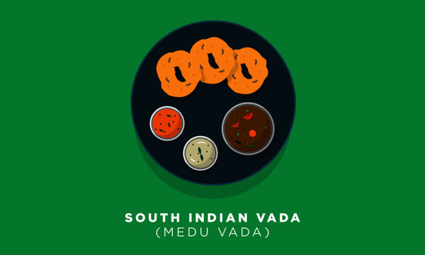 South Indian Vada Vector Illustration. Vada, Sambhar and Chutney Concept. Indian Cuisine Meal / Dish.