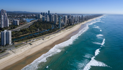 Australia's Surfers Paradise Beach towards Main Beach