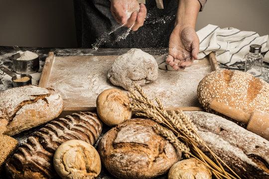 Bakery - baker's hands sprinkle raw dough with flour