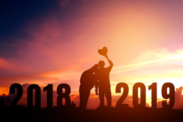 Silhouette young couple Happy for 2019 new year