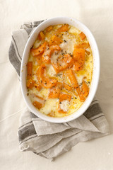 Roasted squash baked with heavy cream, thyme, white wine and parmesan cheese
