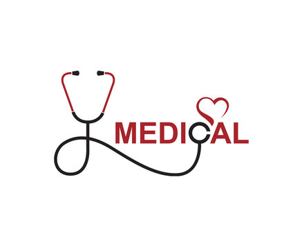 abstract medical halth care icon with stethoscope and heart