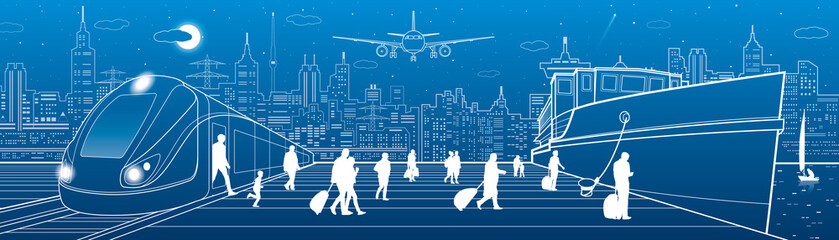 Transportat panorama. Passengers go to ship from train. People walking. Travel transportation. Town scene. Night city at background. Airplane fly. Vector design art