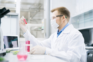 Side view of male microbiologist sitting in protective mask and glasses at desk and holding tube with pink solution of meat analyzing its nutrition properties