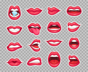 Candy lips patches. Vintage 80s fashion stickers with girl showing tongue and bitten lip with red lipstick. Sticker patch isolated vector set