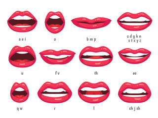 Mouth animation. Lip sync animated phonemes for cartoon woman character. Mouths with red lips speaking animations vector set