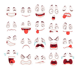 Cartoon faces. Happy excited smile laughing unhappy sad cry and scared face expressions. Expressive caricatures vector set