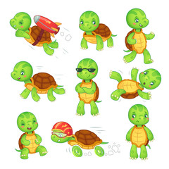 Turtle child. Running fast tortoise. Green kids turtles cartoon characters isolated vector illustration set