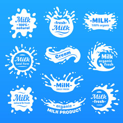 Cow milk splashes with letters. Isolated milks splash for health food store, dairy logo vector label