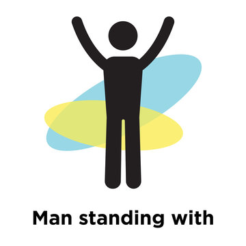 Man standing with arms up icon vector sign and symbol isolated on white background, Man standing with arms up logo concept