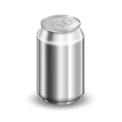 0,33 liter glossy aluminum can, soda or beer template on white