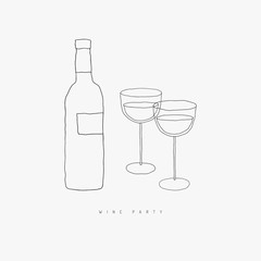 Wine bottle and pair of wine glasses vector line art. Alcohol beverage hand drawn doodle contour