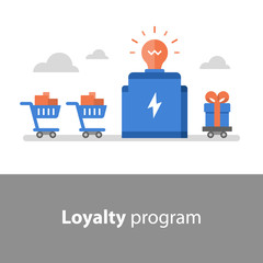 Earn points for purchase, loyalty program, reward concept, full shopping cart, redeem gift